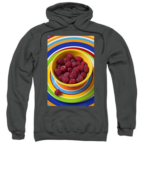 Raspberries In Yellow Bowl On Plate Sweatshirt
