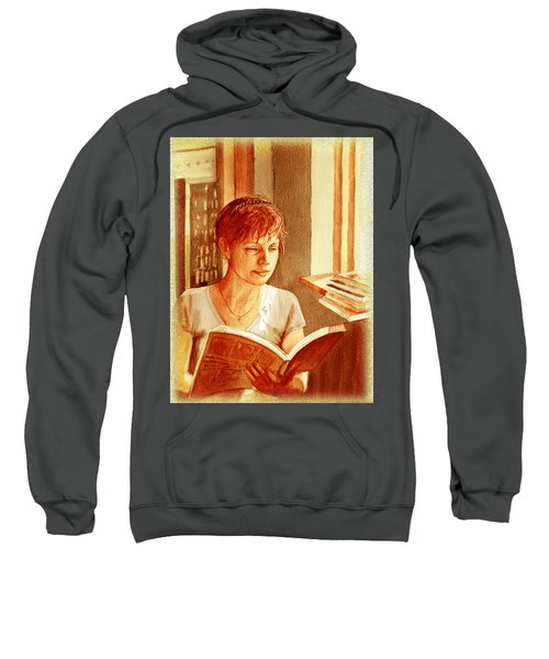 Reading A Book Vintage Style Sweatshirt by Irina Sztukowski