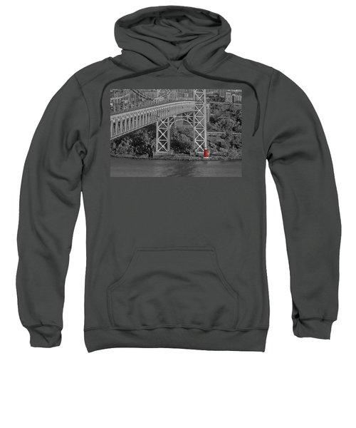 Red Lighthouse And Great Gray Bridge Bw Sweatshirt