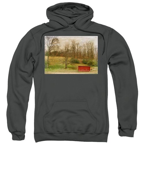 Red Shed Sweatshirt by Paulette B Wright