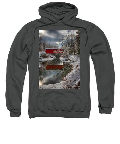 reflection of Slaughterhouse covered bridge Sweatshirt