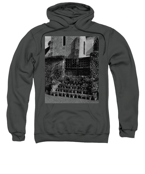 Rows Of Pot Plants Lined On The Steps Of A Garden Sweatshirt