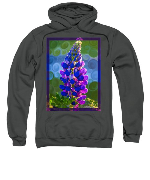 Royal Purple Lupine Flower Abstract Art Sweatshirt