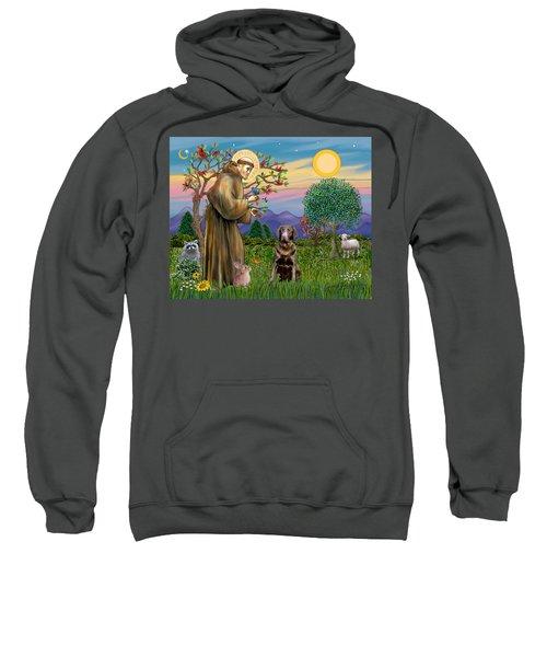 Saint Francis Blesses A Chocolate Labrador Retriever Sweatshirt