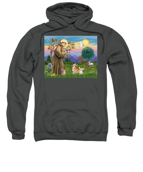 Saint Francis Blesses A Corgi And Her Pup Sweatshirt
