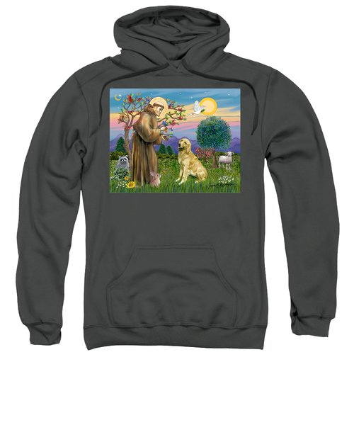 Saint Francis Blesses A Golden Retriever Sweatshirt