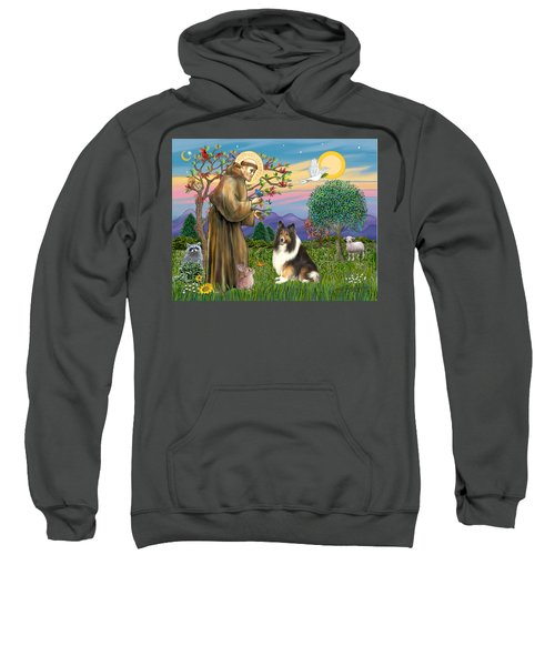 Saint Francis Blesses A Sable And White Collie Sweatshirt