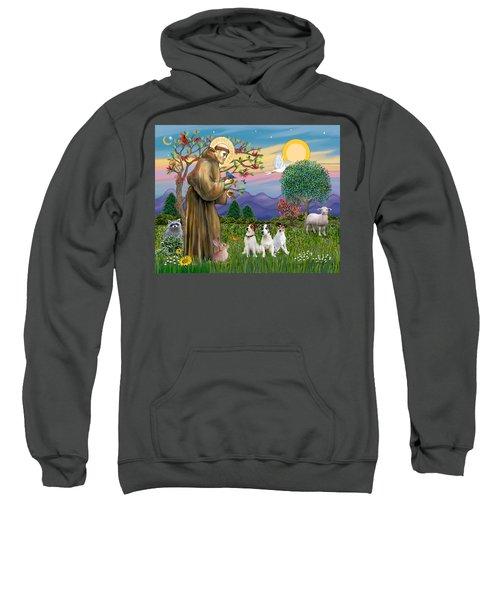 Saint Francis Blesses Three Jack Russell Terriers Sweatshirt