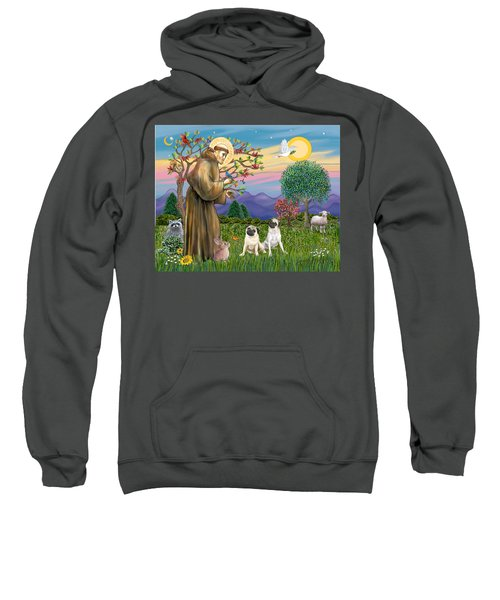 Saint Francis Blesses Two Fawn Pugs Sweatshirt