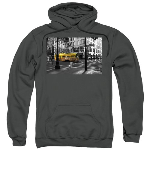 San Francisco Vintage Streetcar On Market Street - 5d19798 - Black And White And Yellow Sweatshirt