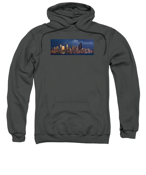 Seattle Skyline Sunset Detail Sweatshirt by Mike Reid