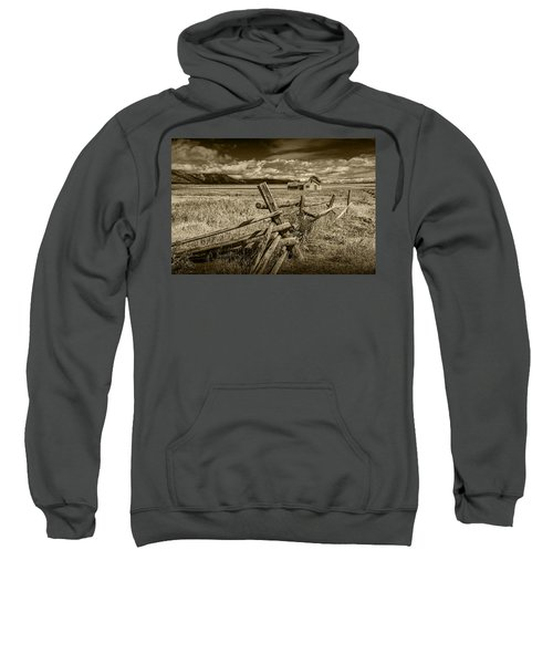 Sepia Colored Photo Of A Wood Fence By The John Moulton Farm Sweatshirt