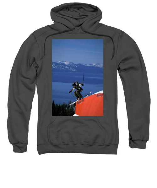 Skier On A Rail In A Terrain Park Sweatshirt