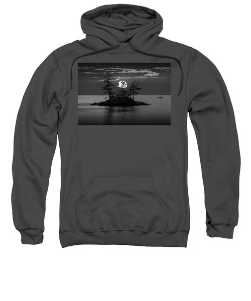 Small Island At Sunset In Black And White Sweatshirt