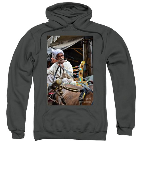 Smiling Man Drives Horse Carriage In Lahore Pakistan Sweatshirt