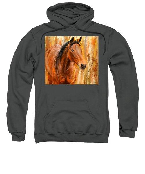 Standing Regally- Bay Horse Paintings Sweatshirt