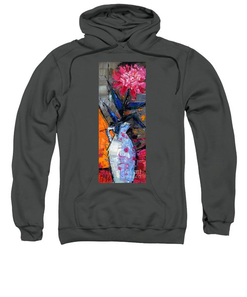 Still Life With Pink Peony In White Vase Sweatshirt