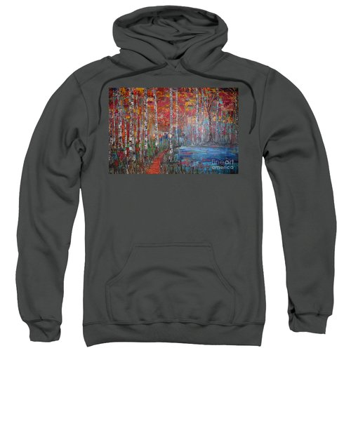 Sunlit Birch Pathway Sweatshirt