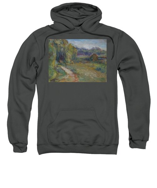 Sunny Morning In The Park -wetlands - Original - Textural Palette Knife Painting Sweatshirt