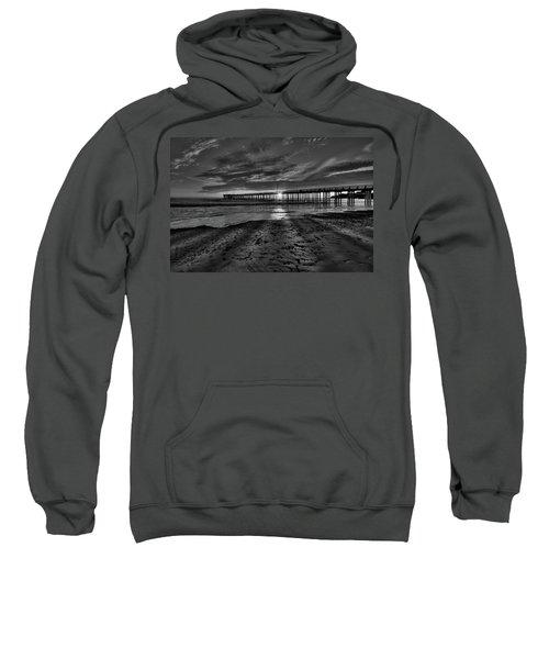 Sunrays Through The Pier In Black And White Sweatshirt