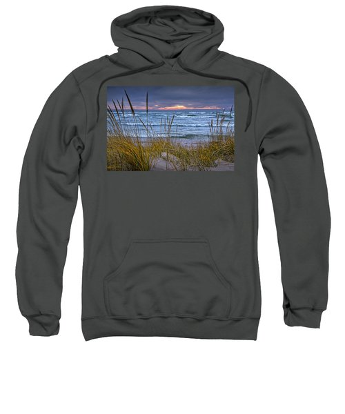Sunset On The Beach At Lake Michigan With Dune Grass Sweatshirt