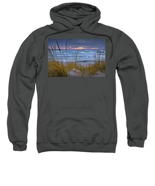 Sunset On The Beach At Lake Michigan With Dune Grass Sweatshirt