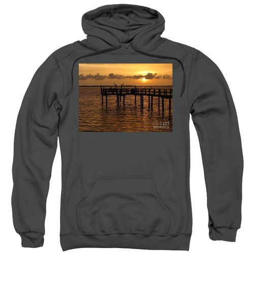 Sunset On The Dock Sweatshirt by Peggy Hughes