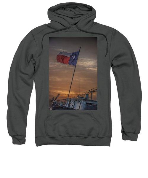 Texas Flag Flying From A Fishing Boat At Sunrise Sweatshirt