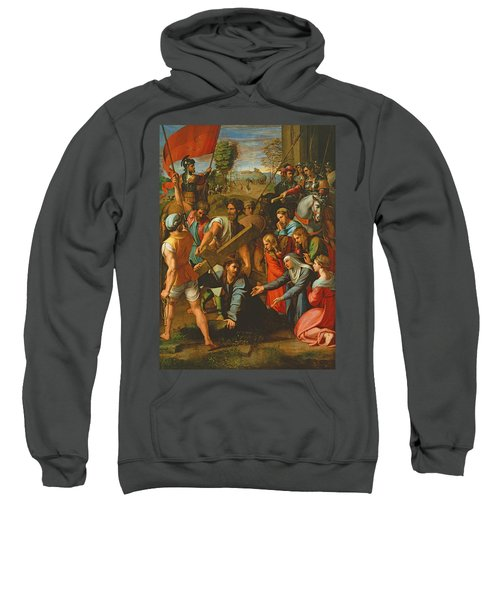 The Fall On The Road To Calvary, 1517 Oil On Canvas Sweatshirt