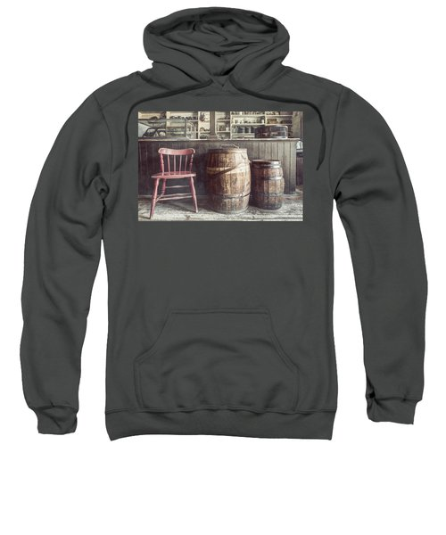 The Old General Store - Red Chair And Barrels In This 19th Century Store Sweatshirt