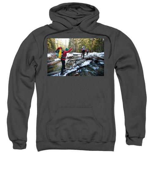 Three Backpackers And A Dog Cross Sweatshirt