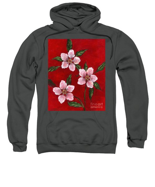 Three Blossoms On Red Sweatshirt