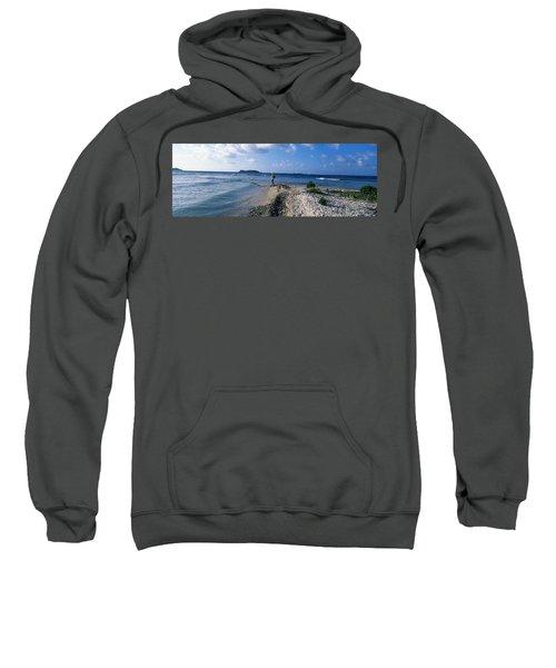 Tourist Fishing On The Beach, Sandy Sweatshirt