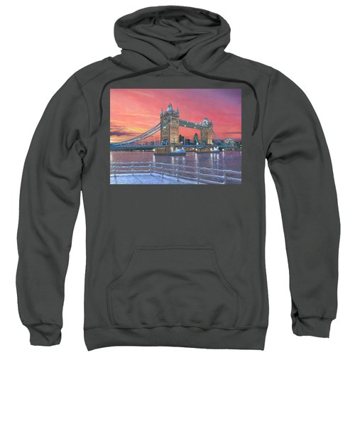 Tower Bridge After The Snow Sweatshirt by Richard Harpum