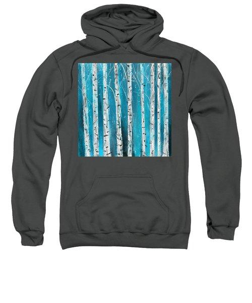 Turquoise Birch Trees II- Turquoise Art Sweatshirt