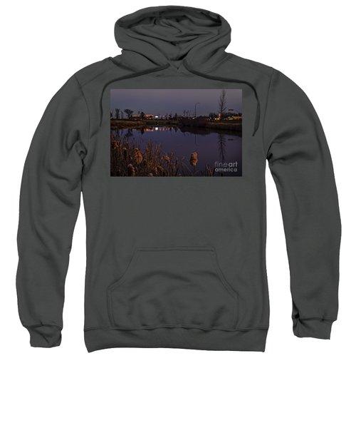 Twilight Over The River In Weyburn. Sweatshirt