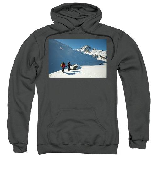 Two Active Female Backpackers Hiking Sweatshirt