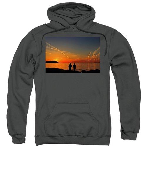Two Friends Enjoying A Sunset Sweatshirt