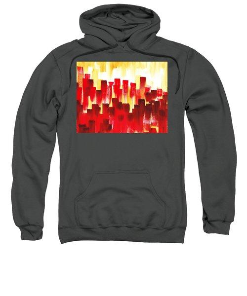 Urban Abstract Red City Lights Sweatshirt by Irina Sztukowski