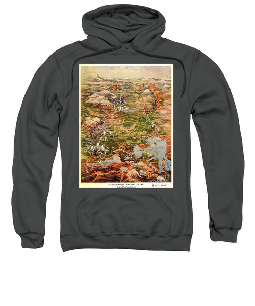 Vintage Map Of Yellowstone National Park Sweatshirt