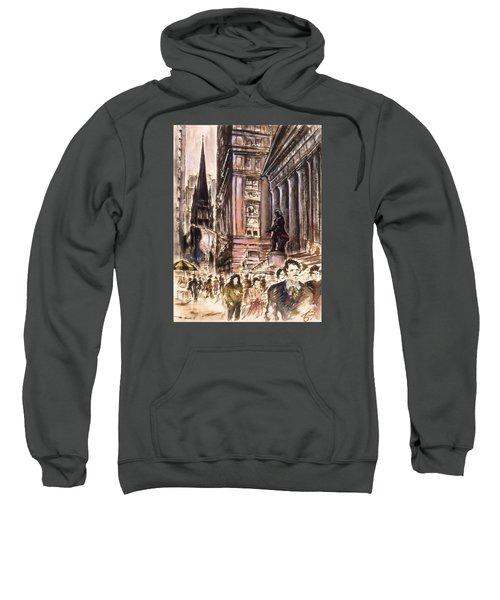 New York Wall Street - Fine Art Painting Sweatshirt