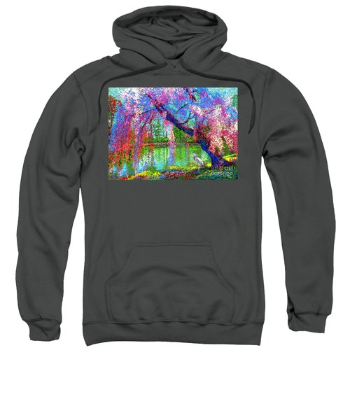Weeping Beauty, Cherry Blossom Tree And Heron Sweatshirt