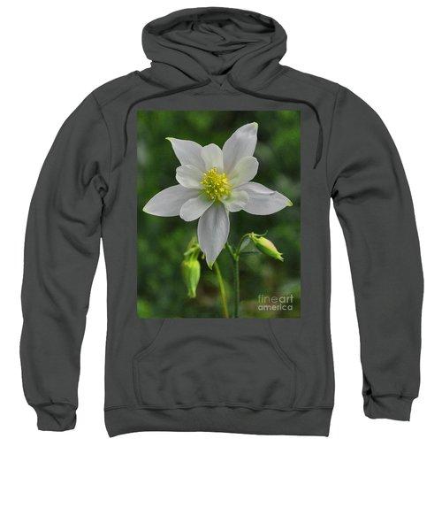 Sweatshirt featuring the digital art White Star Flower by Mae Wertz