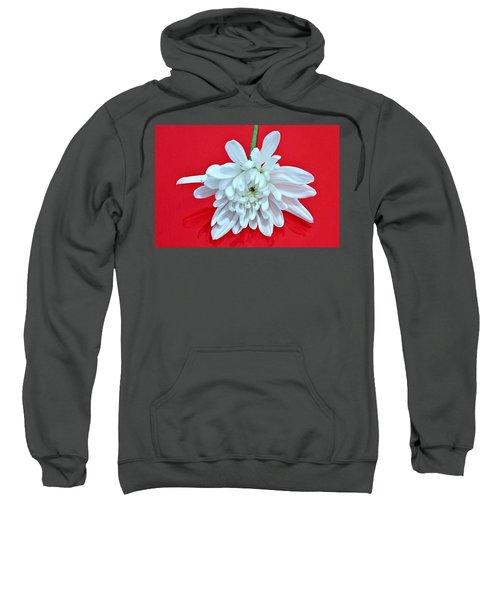 White Flower On Bright Red Background Sweatshirt