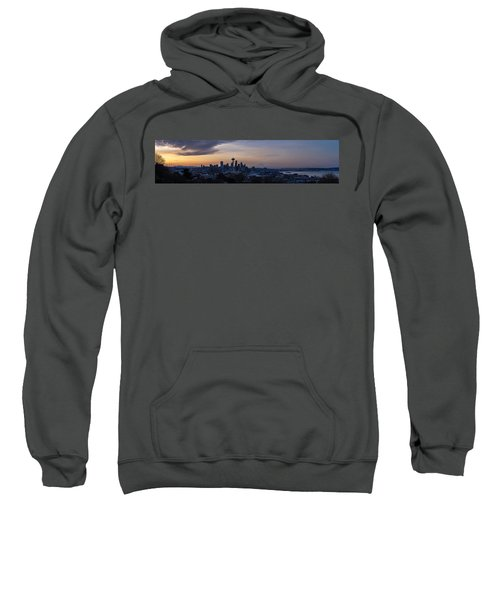 Wide Seattle Morning Skyline Sweatshirt by Mike Reid