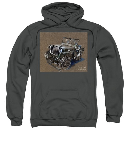 Willys Car Drawing Sweatshirt