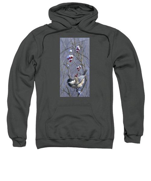 Winter Harvest 2 Chickadee Painting Sweatshirt