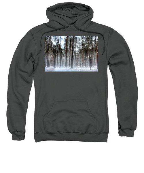 Winter Light In A Forest With Dancing Trees Sweatshirt
