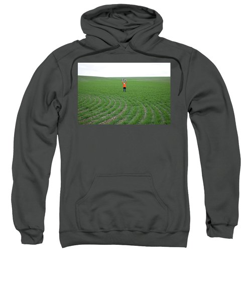Woman In Big Field Holds Up Sign Sweatshirt