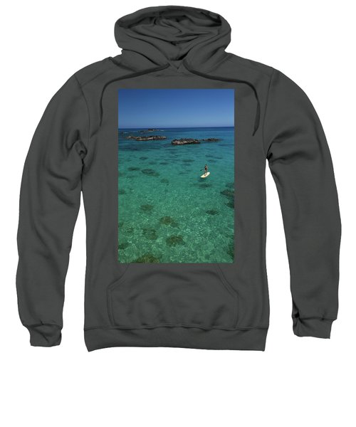 Woman Paddle Boarding In Ocean, Hawaii Sweatshirt